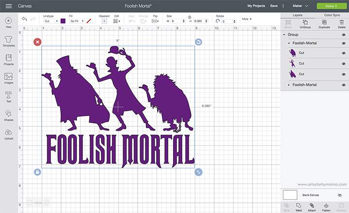Foolish Mortal Shirt with Free Cut File in Cricut Design Space