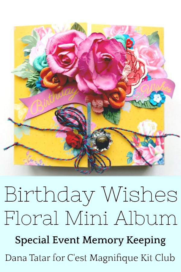 Mixed Media Birthday Mini Album with Bright Flowers