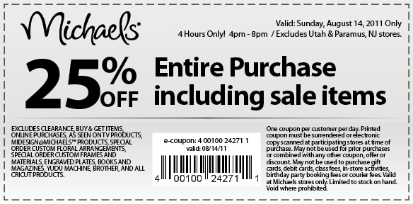 Find the best online promo codes and printable coupons in the official Michaels weekly ad. Learn what's on sale this week and fine the best deals on art supplies, custom framing and canvases, to sewing and knitting, fabric, crafting materials, and decor.