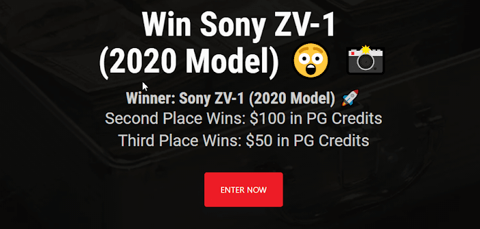Sony ZV-1 2020 Model Giveaway + $150 in PG Credits (Worth Over : $799)