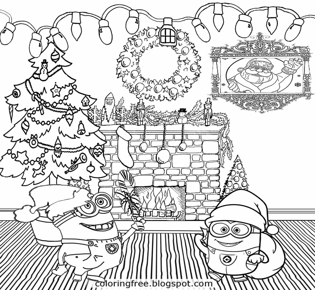 Xmas Tree Party Things To Draw Cool Merry Christmas Minions Coloring Pages For Teenagers Print