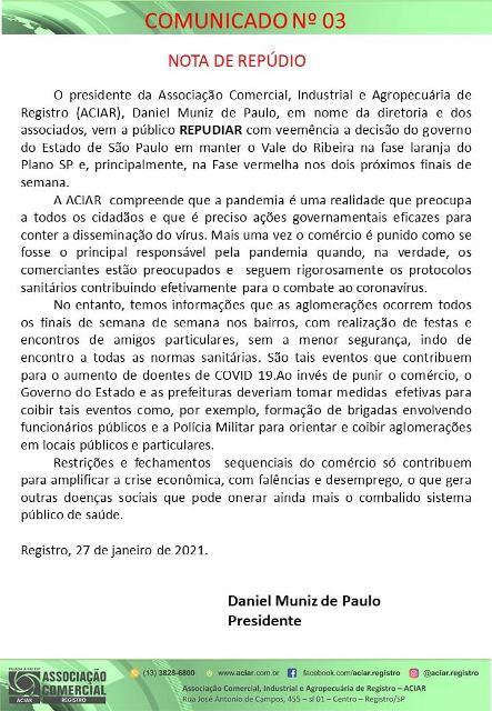 ACIAR encaminha nota de repúdio ao governador João Dória por fechamento do comércio no Plano SP