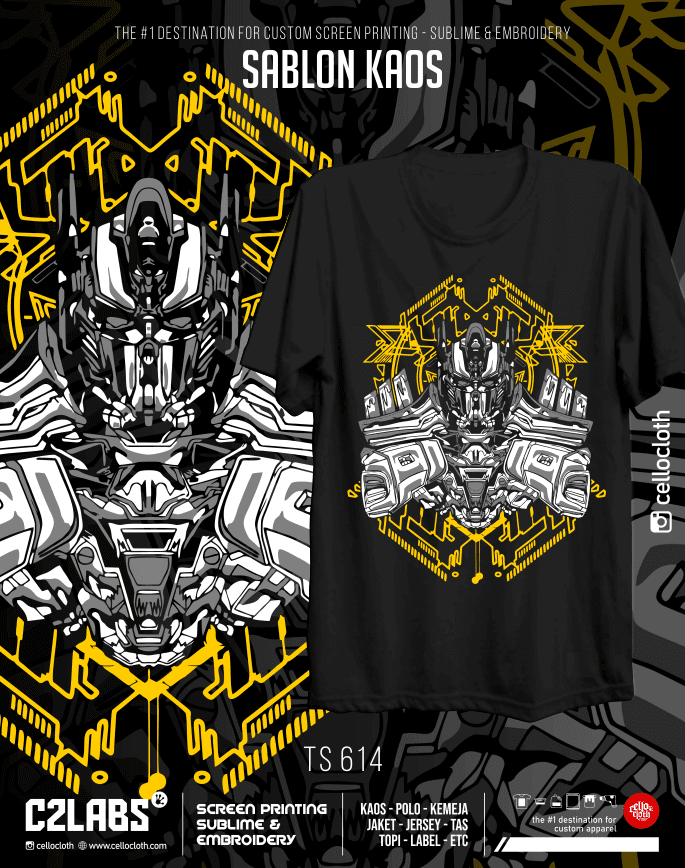 TS 614 Contoh Desain Kaos Sablon Rubber Manual Custom - C2 Labs Cellos Clothes