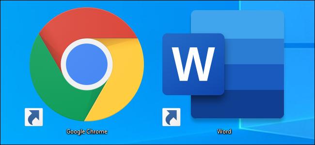 اختصارات أيقونة سطح مكتب Google Chrome و Microsoft Word على نظام التشغيل Windows 10