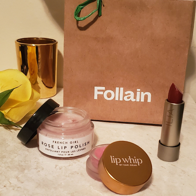 French Girl rose lip polish, Lip Whip by Kari Gran, and Ilia lip color, all sold at Follain