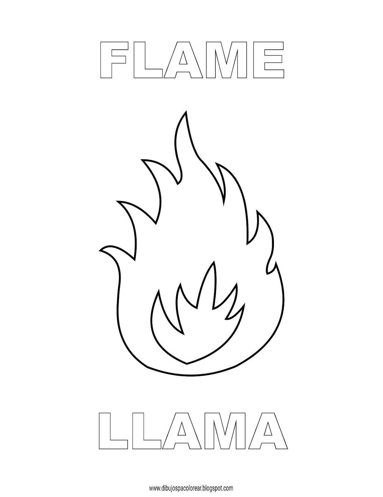 Dibujos Inglés Español Con Ll Llama Flame