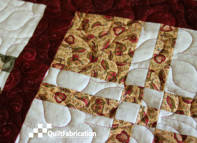 quilting progress on Lickety Split from Charm School book