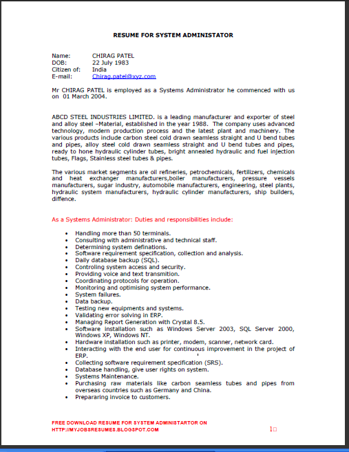network administrator resume sample resume linux fresher templates - System Administrator Resume Template