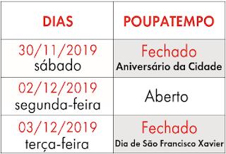 Poupatempo de Registro-SP fechado nos dias 30/11 e 03/12, por conta de feriados municipais