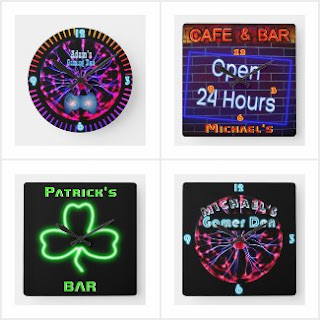 Mancave den bar garage shed wallclock neon
