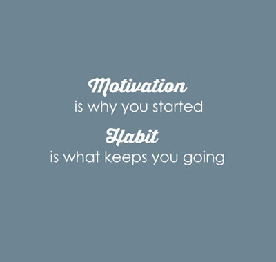 Motivation is why you started. Habit is what keeps you going. Fitness, fashion, fuel, motivation, goal, process quotes