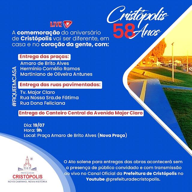 Cristópolis comemora 58 anos neste domingo (19) com entrega de praças e ruas pavimentadas