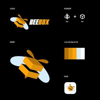 Desain Logo Bentuk Lebah Beebox Opsional