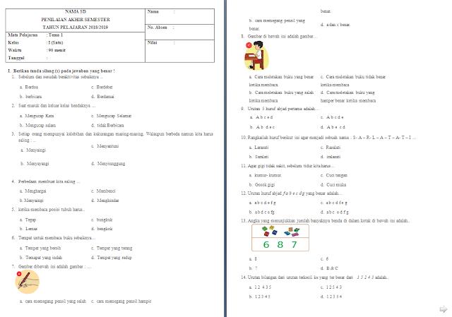 Soal Penilaian Akhir Semester (PAS) Kelas 1 SD/MI: Tema 1