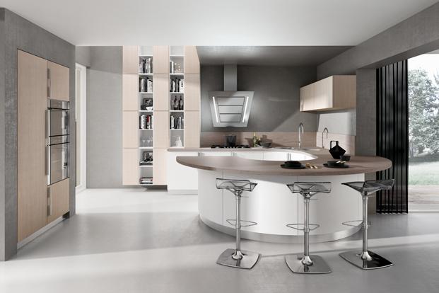 cuisine design blanche arrondie. Black Bedroom Furniture Sets. Home Design Ideas