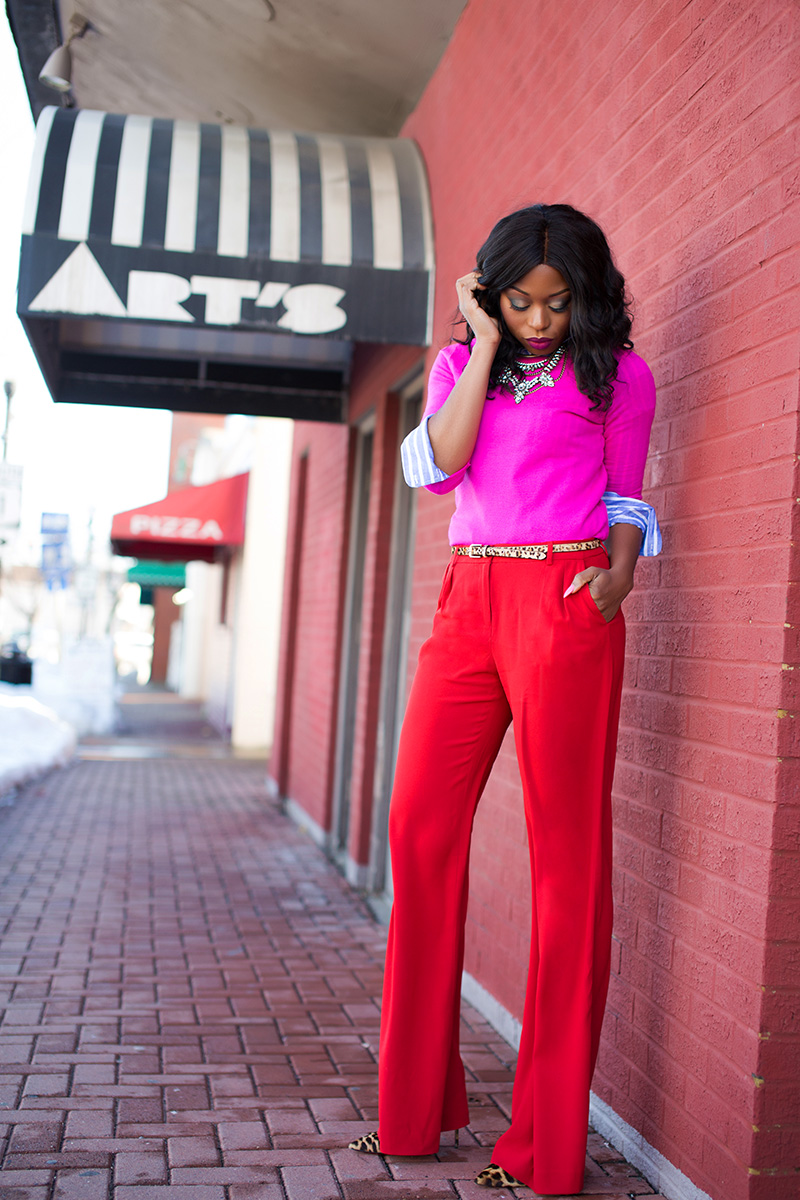 red and pink, valentines day style, chelsea 28 red pants, www.jadore-fashion.com