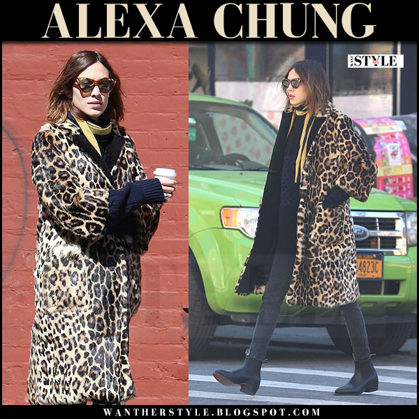 Alexa Chung in leopard print coat and brown cat eye gucci sunglasses what she wore march 2017
