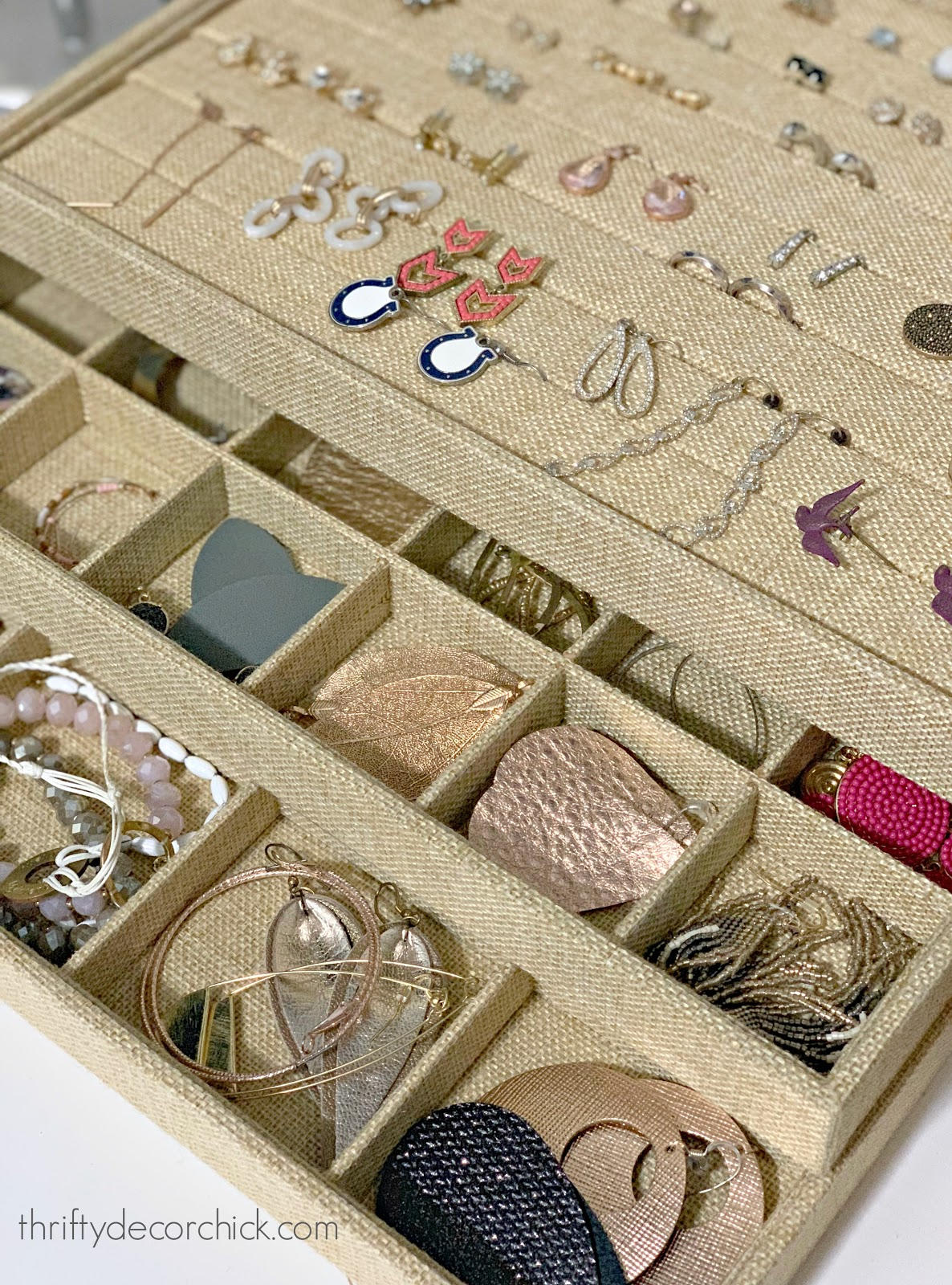 pretty linen storage for jewelry