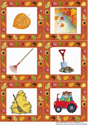 fall flashcards, leaves and harvest
