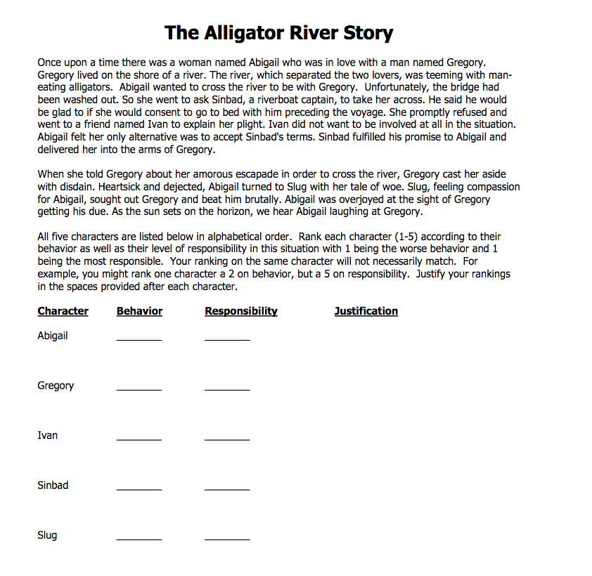 the alligator river story • read the alligator river story • after reading the story (and without any discussion with your peers) rank the five characters in the story beginning with who you consider to be the most.