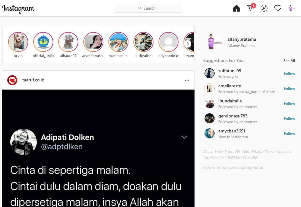 Cara Kirim DM di Instagram Web Laptop dan Komputer