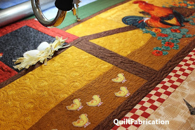 round robin chicken quilt quilting progress