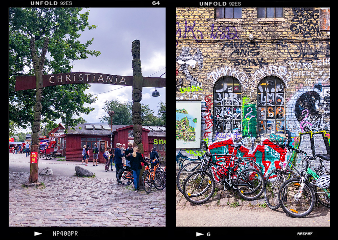 Copenhagen travel diary Christiania sign and bikes