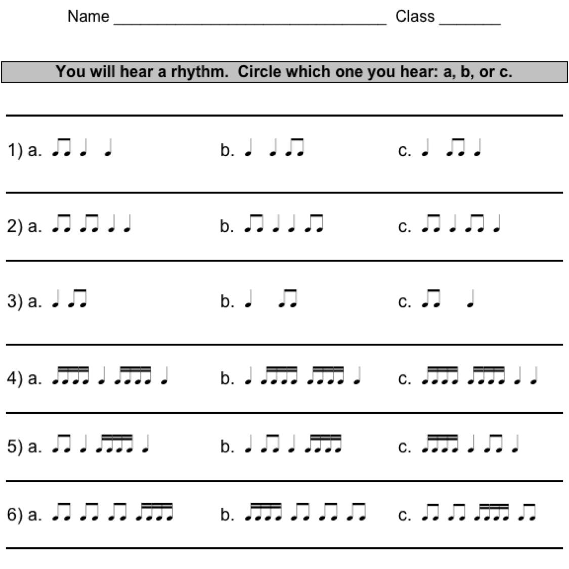 Rhythm worksheets - TECHNOLOGI INFORMATION
