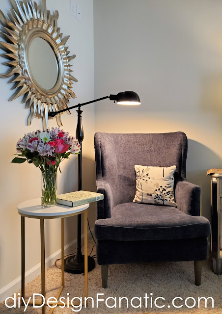 Master Bedroom, Master Bedroom decorating, Modern Wing chair, navy upholstered chair, navy wing chair, cottage style