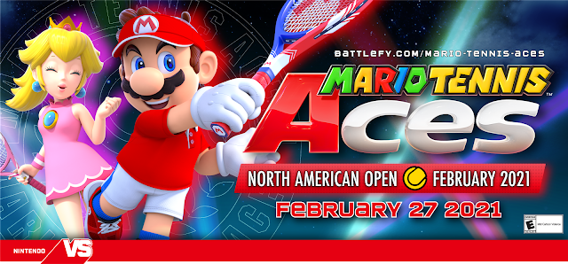 Mario Tennis Aces North American Open February 2021 logo key art