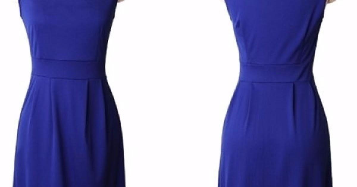 37e4fe0b2 Mini Vestido Azul Rey Casual Juvenil Vintage