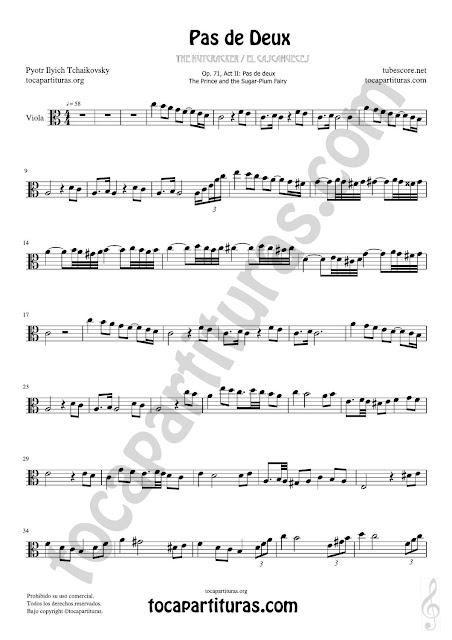 Viola Partitura de Pas de Deux Sheet Music for Viola Music Score en Do Mayor / C Major PDF/MIDI de Viola