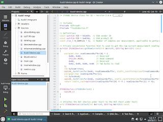 Parte do código-fonte da aplicação gráfica, a ser visualizado através do Qt Creator.