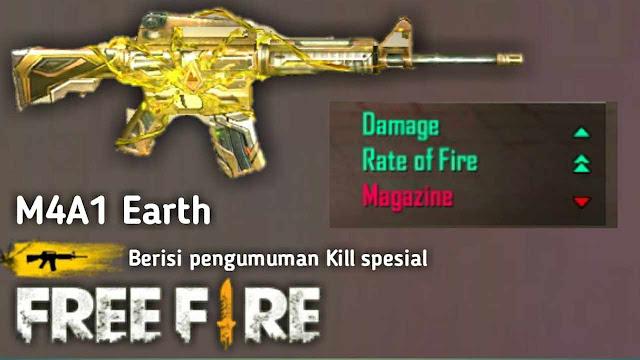 Banyak Dipakai! Inilah 8 Skin Senjata Jarak Jauh (Berpeluru AR) Paling Mematikan di Game Free Fire, m4a1 earth