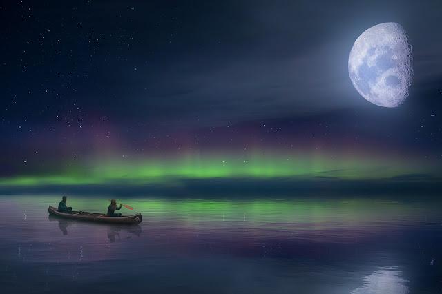الصيادين في البحيرة تحت القمر والشفق