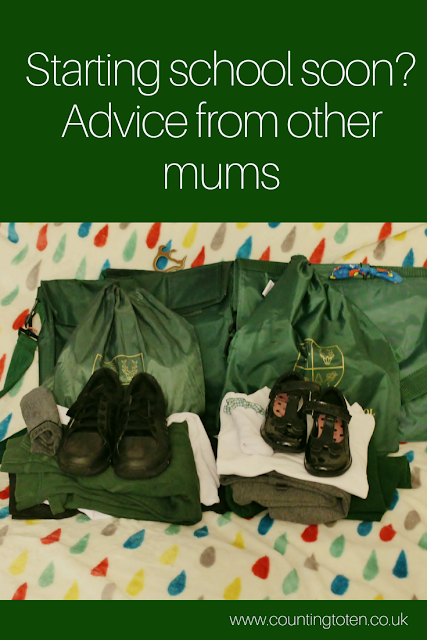 Text saying: Starting school soon? Advice from other mums. Above a photo of school uniform