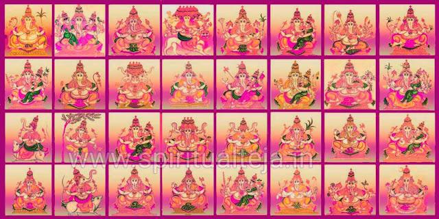 Baala, Taruna, Bhakta, Viira,  Shakti, Shakti, Siddhi, Dvija, Vighna, Kshipra, Heramba, Lakshmi, Mahaa, Vijaya, Nritya, Uurdhva, Vara, Ekaakshara, Tryakshara, Kshipraprasaada, Haridraa, Ekadanta, Shristi, Uddanda ganapati.