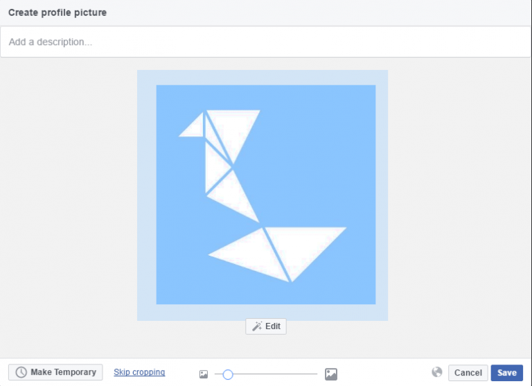 Facebook Create Profile Picture cropping dialog