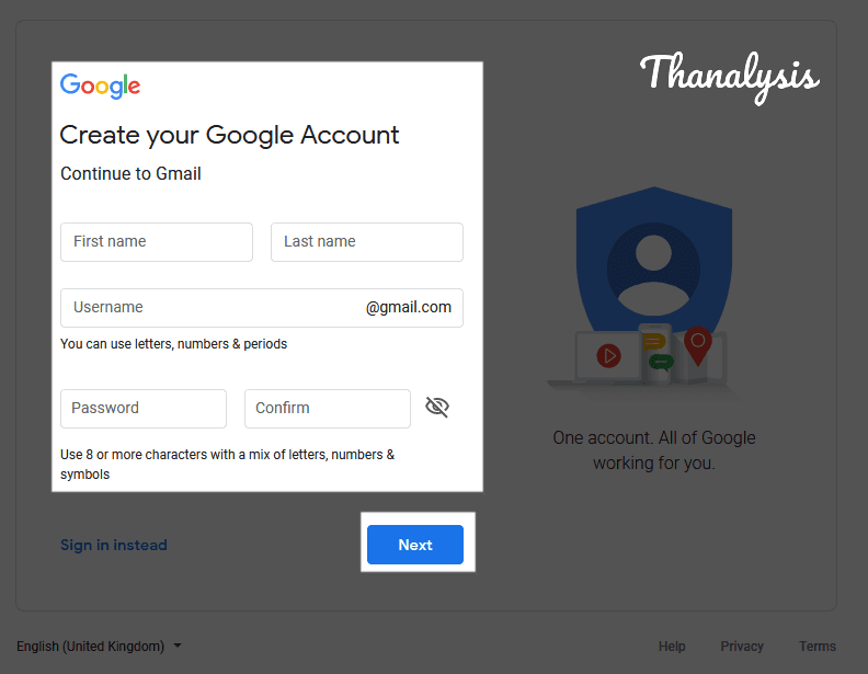 Form for Gmail Sign up for new account