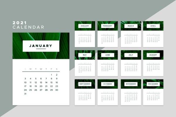 Calendario en vector 2021 color verde