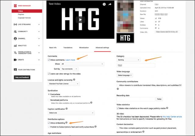 ضبط اعدادات الفيديو بعد رفعه على اليوتويب