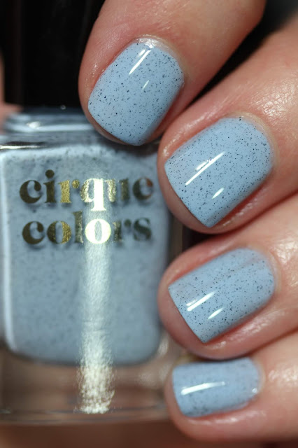 Cirque Colors Robin baby blue speckled nail polish