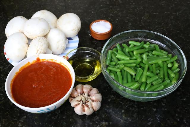 Ingredientes para salteado de champiñones y judías verdes