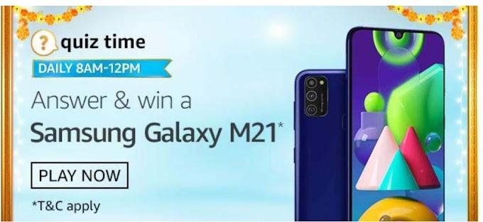 Amazon Quiz 4 October 2020 Answers Win – Samsung Galaxy M21