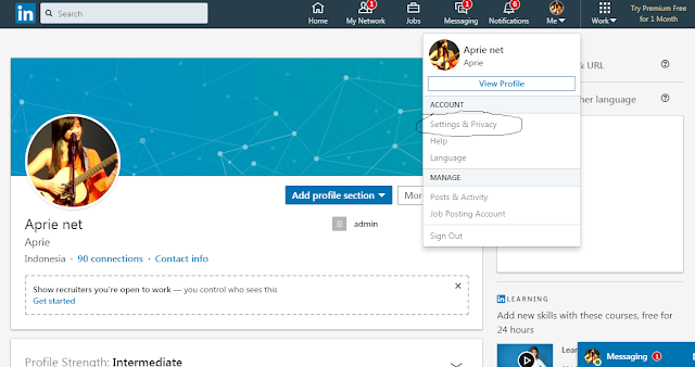 Cara mengaktifkan Mode Pribadi di LinkedIn melalui browser web