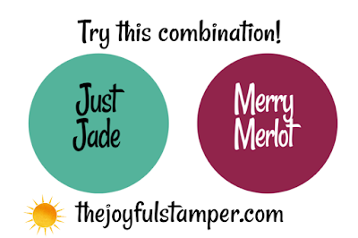color inspiration, stampin' up! colors, just jade, merry merlot, pinnable color combinations, stampin' up!