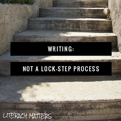 Why I DON'T post a step-by-step writing process chart in my classroom!  This blog post describes in detail the recursive nature of the writing process.  We don't get students' best thinking when we force them through a lock-step process.  Rethink the nature of how writers write!