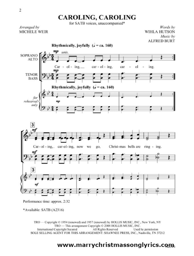 Caroling Caroling Sheet Music