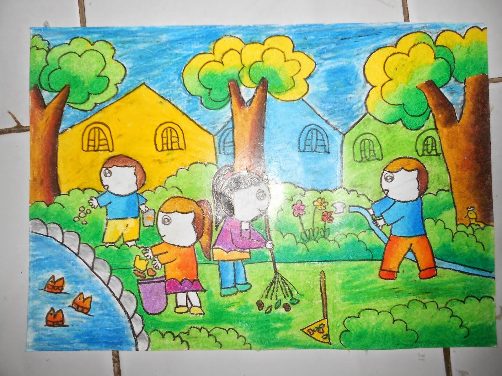 Gambar Ilustrasi Tema Lingkungan Sekolah