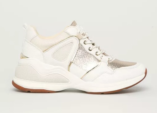 Pantofi Vany albi cu insertii argintii